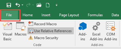 Enable Visual Basic Editor - Developer - File