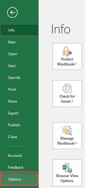 Enable Visual Basic Editor - Developer - Options