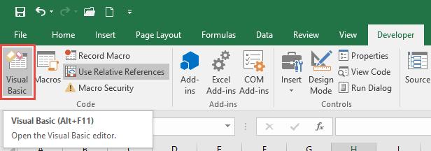 developer tab