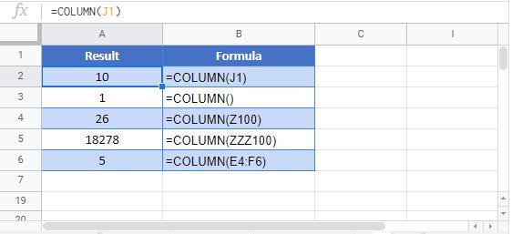 COLUMN Google Function