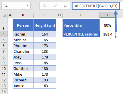 How to use PERCENTILE