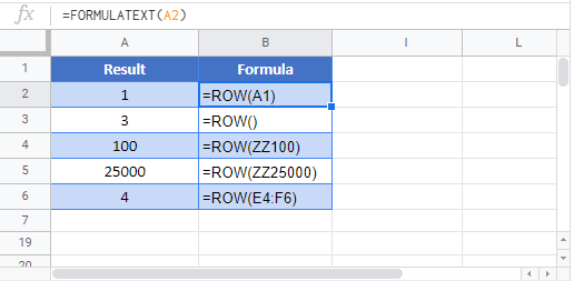 ROW Google Function