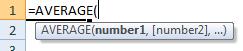 average formula syntax