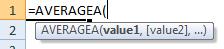 averagea formula syntax