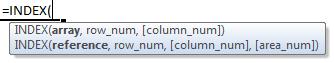 index formula syntax