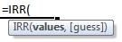 irr formula syntax