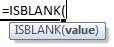 isblank formula syntax