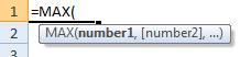 max formula syntax