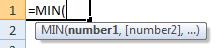 min formula syntax
