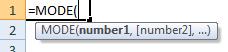 mode formula syntax