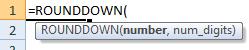 rounddown formula syntax