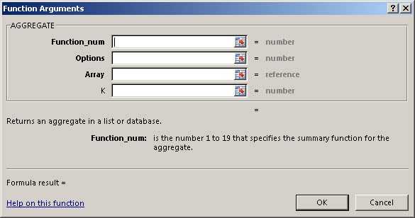 how to use the aggregate function in excel