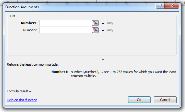 how to use the lcm function in excel