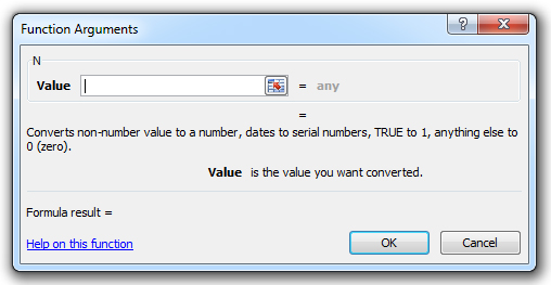 how to use the n function in excel