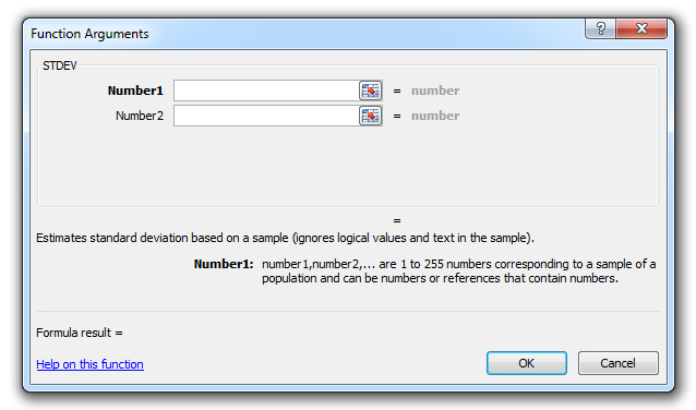 how to use the stdev function in excel