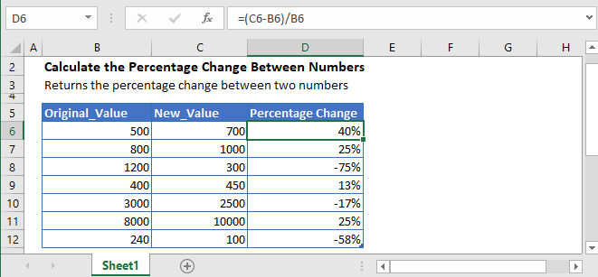 percentage change between numbers