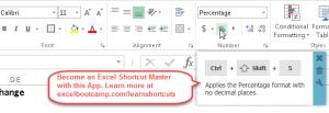Excel Shortcut - Apply Percentage Number Formatting