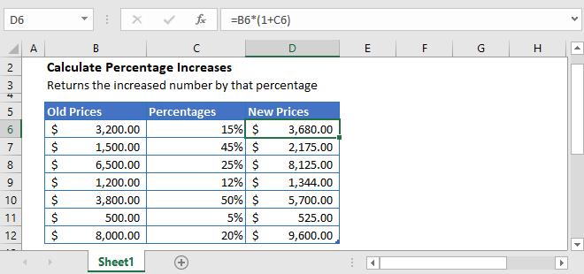 Percentage Increase Excel