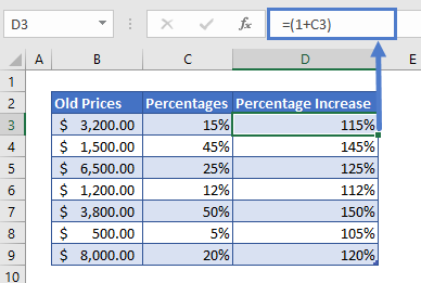 Percentage Increase Example step 1
