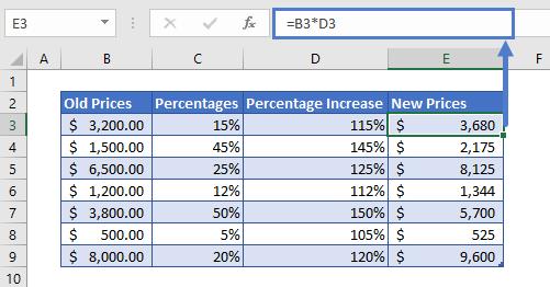 Percentage Increase Example Step 2