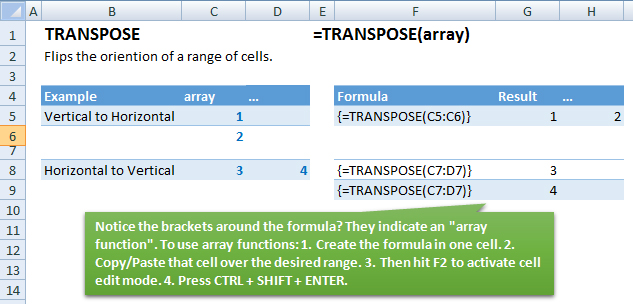 transpose function examples