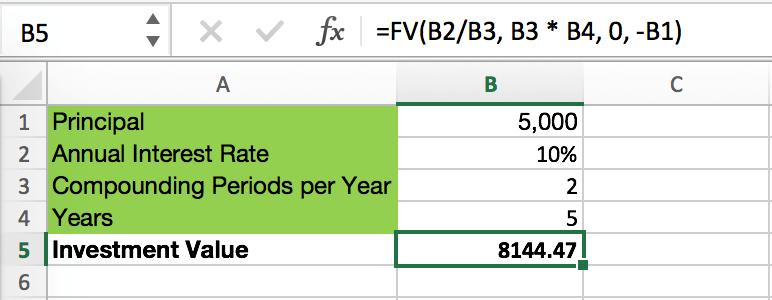 Semi Annual Compounding Interest Formula Excel