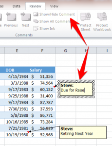 Show or Hide Comments in Excel