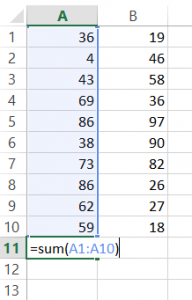 Sum Cells in All Rows Containing Data