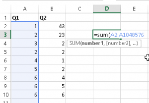 Sum Entire Columns or Rows Except the Header