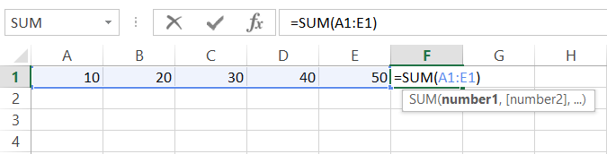 Use the Sum Function in Excel to Add Up a Row