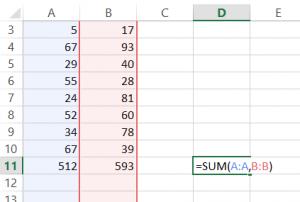Sum Non-Contiguous Columns in Excel
