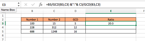 ratio of two numbers in excel