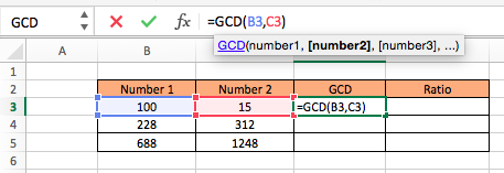 GCD Function to Calculate Ratio