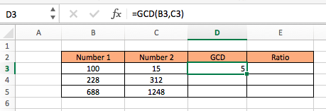 GCD compute ratio between two numbers