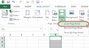 insert column vertical page break excel vba