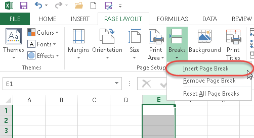 how to set page breaks in excel