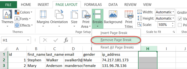 remove column page breaks excel vba