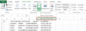 reset all page breaks excel vba
