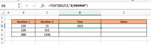 text function ratio in excel