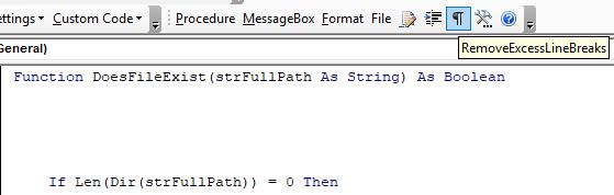 vba code tool - remove excess line break