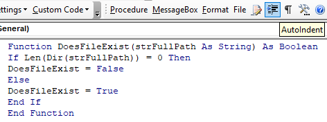 vba code indenter