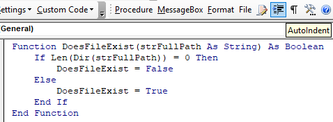 vba code indented