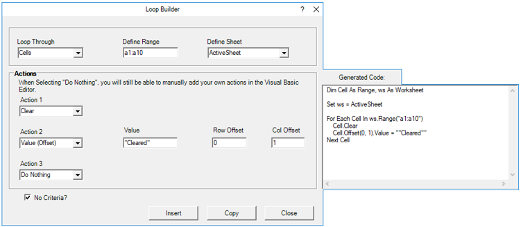 vba loop builder