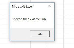 vba on error exit sub