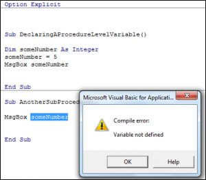 Declaring a Variable at Procedure level and then Getting an Error