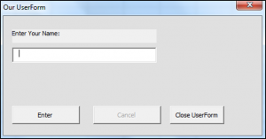 Using the Initialize Event in VBA
