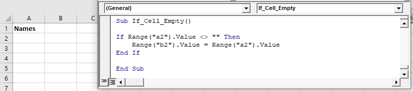 vba if cell empty do nothing