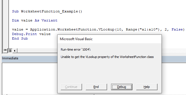 vba worksheet function error
