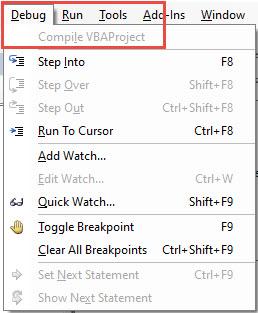 vba compile vbaproject
