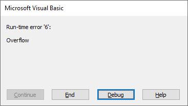 vba overflow error